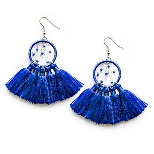 (Navy Blue Tassel Drop Statement Earrings Dream Catcher Beaded Tassel Fan Earrings Jewelry for Women)
