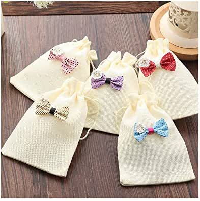 5pcs/lot Fahsion 10 * 14cm Linen Bag Drawstring Pouch Decoration for Wedding/Birthday Party Lovely Gifts Packaging Pouch,Random Mixed Color