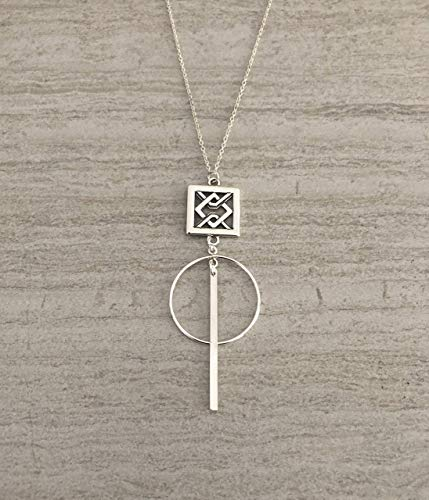 (T. Victoria Sterling Silver Square Motif Circle Bar Pendant Necklace 16 Inch Elegant Gift For Her)