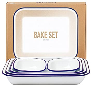 genuine falcon enamelware bake set (white with blue rim): amazon ... - Falcon Küche