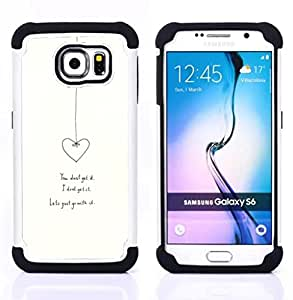 GIFT CHOICE / Defensor Cubierta de protección completa Flexible TPU Silicona + Duro PC Estuche protector Cáscara Funda Caso / Combo Case for Samsung Galaxy S6 SM-G920 // Heart Love Relationship White Minimalist //