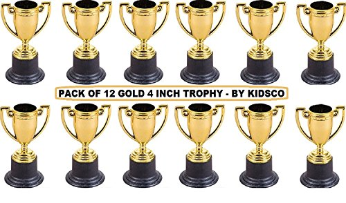 Plastic Trophies – 12 Pack 4 Inch Cup Golden Trophies For Children, Competitions, Awards, Parties, Party favors, Props, Rewards, Prizes, Games, School, Field Day, Boys And Girls - By - Plaque Hockey Award