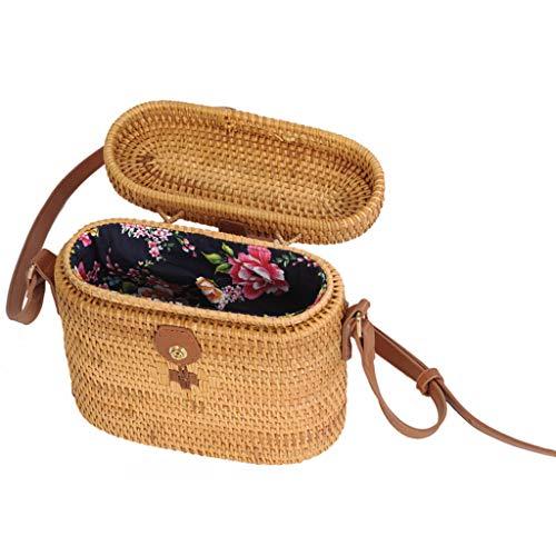 Women's Bag, Rattan Bag - Medicine Box Style - Cosmetic Crossbody Bag - Travel Beach Bag - Hand-Woven Bag by BHM (Image #3)