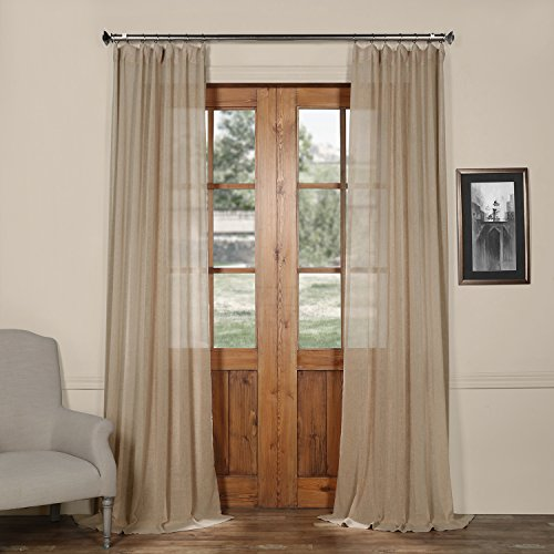 Half Price Drapes SHCH-SS07162-96 Solid Faux Linen Sheer Curtain, Nude Mauve, 50 X 96