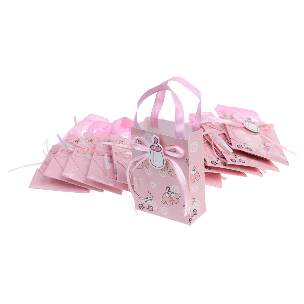 Prettyia 12 Pieces Girl Boy Baby Shower Candy Gift Bags Mini Tote Birthday Party Favor Decor - Blue