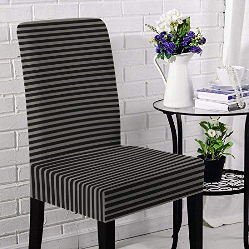 Briarwood Home Jersey Chair Slipcovers Set, Super Fit, Stretchy, Removable, Machine Washable Dining Room Chair Cover Set - Heather Fabric Striped - Best for Home Decoration (Oatmeal/Charcoal)