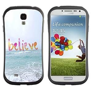 Suave TPU GEL Carcasa Funda Silicona Blando Estuche Caso de protección (para) Samsung Galaxy S4 I9500 / CECELL Phone case / / believe god sun sea beach summer text /