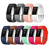 (US) Fitbit Charge 2 Bands, AK Classic Edition Adjustable Comfortable Replacement Wristbands for Fitbit Charge 2 Heart Rate [No Tracker] (Pack of 10, Large)