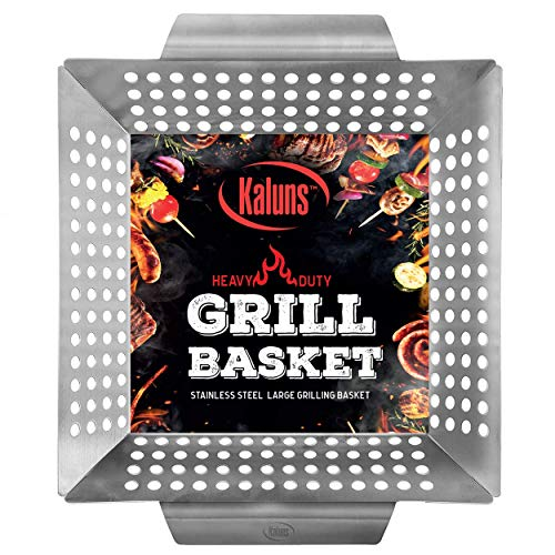 Stainless Steel Grill Basket - Kaluns Grill Basket - Best Grilling Basket for Vegetables and Shrimp - Heavy-Duty Stainless Steel Material - Perfect Size Fits Most Grills - Great for BBQ or Oven Use BBQ Accesso