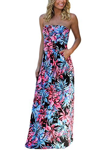 [HOTAPEI Strapless Vintage Floral Print Party Maxi Dresses For Women Black and Neon Pink Tropical] (Neon Party Dresses)