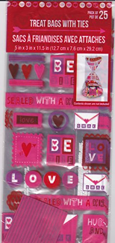 25pcs Valentine's Day Holiday - Cello/Cellophane/Loot Treat Bag 11.5 x 5 inch (Love (Cello Loot Bags)
