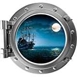 """12"""" Port Scape Instant Sea Window View SHIP IN MOONLIGHT #1 SILVER Porthole Wall Decal Sticker Graphic Pirate Boat Ocean Kids Bedroom Playroom Nursery Decor Wall Art Room Decor Removable Fabric Vinyl"""