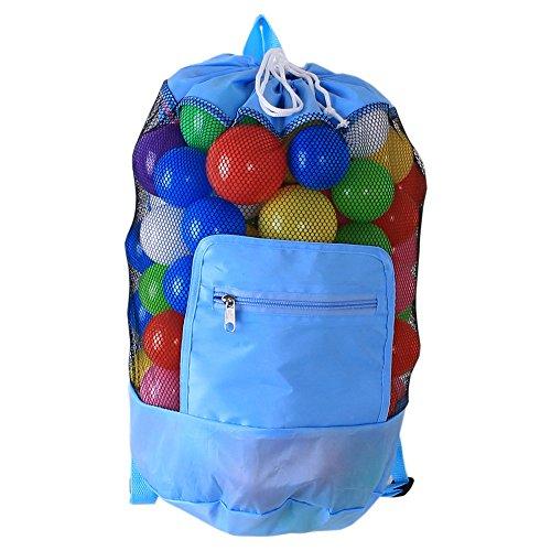 Fashion Foldable Portable Baby Kids Toy Beach Organizer Storage Bag,Outdoor Beach Shell Sand Bag (Sky Blue)