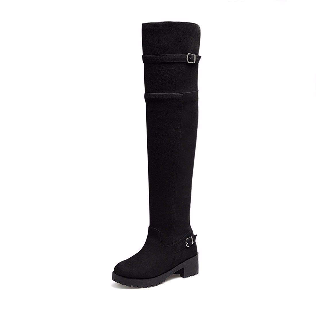 Europe Europe Europe and The United States Pu Suede Belt Buckle Boots Knee high Boots with Thick Bottom Code B07H21VTKD Boots 27d561