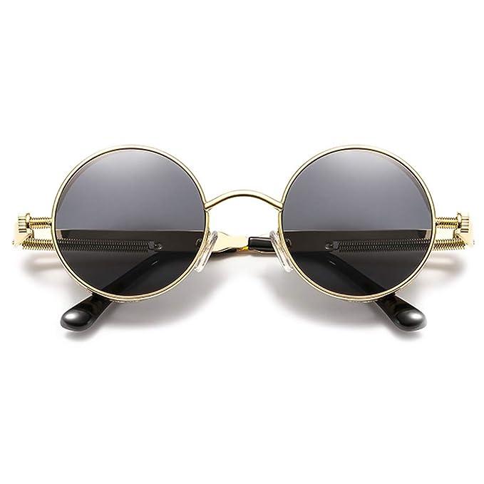 86f3ba1920 VEVESMUNDO Anteojos de Sol Polarizadas Hombre Mujer UV Protección Redondas  Metalicas Gafas de Tendencia Steampunk con Portátil Funda Estuche Dorado  Plateado ...
