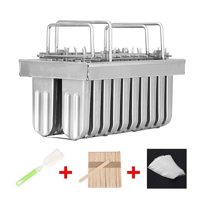 TTLIFE Juego de moldes de paleta de hielo de paleta de hielo de acero inoxidable, 20 piezas de palitos para helados, paletas + cepillo+ barras * 100 + ...