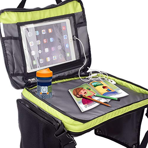 Kids Travel Tray Car Seat Booster Accessories Table for Baby Toddler with Cup and iPad Holder Road Trip Organizer Zip Away Toys Books Activities Games