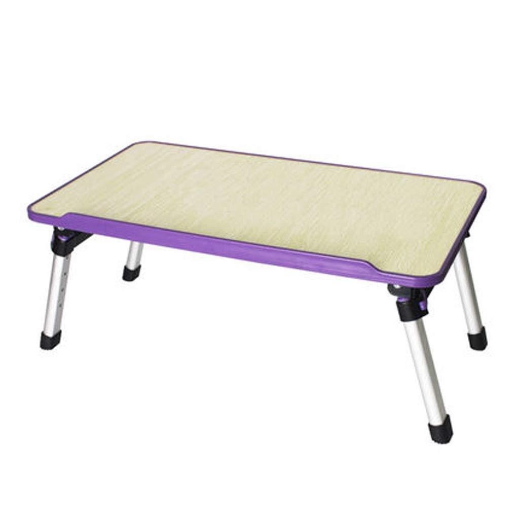 折りたたみノートパソコンのテーブルの高さ4調節可能なポータブルベッドのノートブックテーブルソファテーブル学習小さな机寮怠惰なテーブル ## (色 : 紫の)  紫の B07S79KGKS