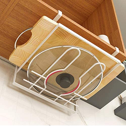 パン蓋ホルダー 内閣ハンギングキッチンストレージまな板ホルダーパンふたホルダースチール仕上げポット (色 : White, Size : 23.8×24×13cm)