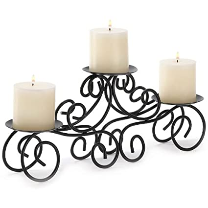 detailed look 06e74 fe3ca Amazon.com: Wrought Iron Scroll Triple Candle Holder: Home ...