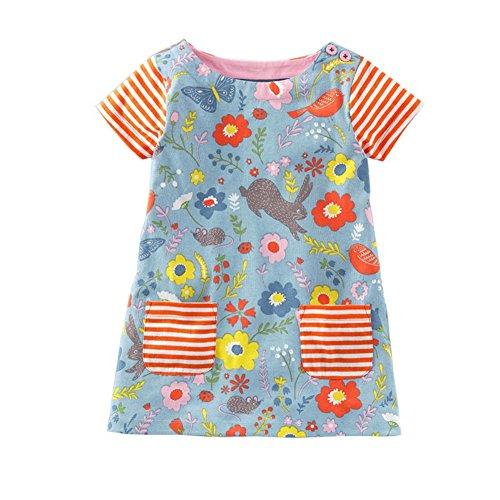 B Cartone Vestito Casuale Animato Infantile Weixinbuy Playwear Maglietta Animale Ragazze Allentata Colore UF1PqP