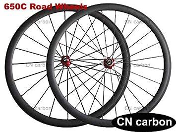 FidgetGear 650C - Ruedas para Bicicleta de Carretera (38 mm, Fibra de Carbono): Amazon.es: Deportes y aire libre