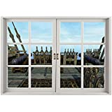 SCOCICI Peel and Stick Fabric Illusion 3D Wall Decal Photo Sticker/War Home Decor,Nostalgic Pirate Boat Deck with Old Guns Muzzles Front of Fight Power Print,Blue Brown/Wall Sticker Mural
