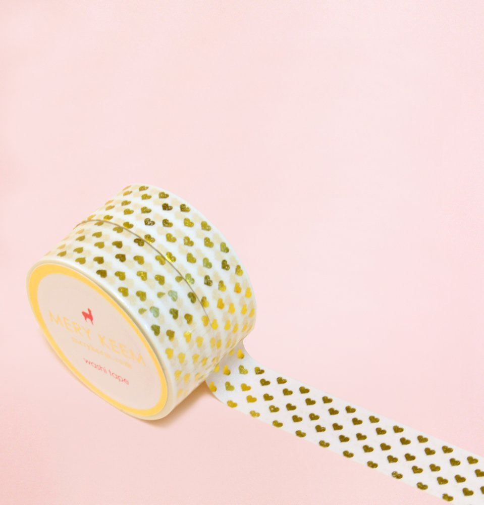 Little Hearts in Gold Foil Washi Tape for Planning • Scrapbooking • Arts Crafts • Office • Party Supplies • Gift Wrapping • Colorful Decorative • Masking Tapes • DIY