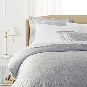 Pinzon Paris Printed Egyptian Cotton Duvet Set - Full/Queen, Light Gray