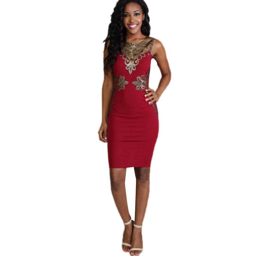 Ankola Summer Dresses-Women's Elegant Vintage Sleeveless Floral Lace Bodycon Midi Cocktail Party Dress (S, Red)
