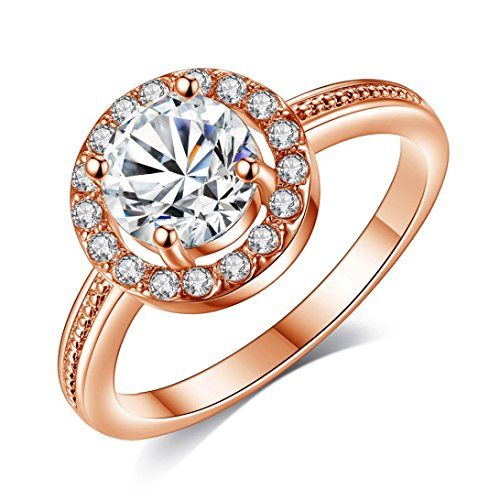 iLH® Clearance Ring,ZYooh Shining Diamond Flower Goddess Ring Engagement Wedding Band Ring Jewelry Gift (Rose Gold, 7#) (Goddess Amethyst Ring)