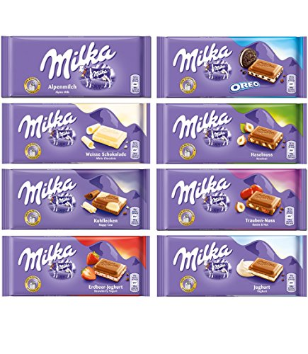 Milka Assorted Chocolates Variety Pack of 8 Bars