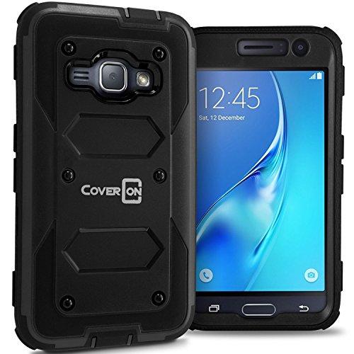 Galaxy Express 3 Case, Galaxy Luna Case (2016), CoverON [Tank Series] Tough Hybrid Hard Armor Phone Cover Case for Samsung Galaxy J1 Luna 4G LTE - Black