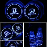 Alichee LED Car Logo Cup Holder Pad 7 Colors Changing USB Charging Mat LED Cup Mat Car Atmosphere Lamp Decoration Lights 2PCS for Honda Accessories