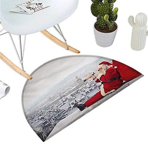 Christmas Semicircular Cushion Santa Claus Sitting on Roof Top Looking Through Binoculars Cloudy Cityscape Entry Door Mat H 27.5
