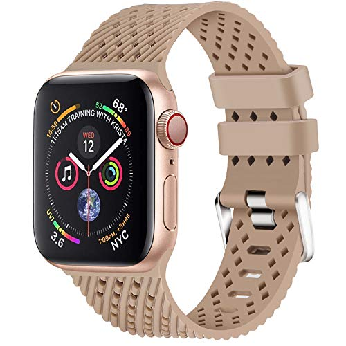 Lwsengme Compatible with Apple Watch Band (S/M M/L),Choose Color,Soft Rubber Replacement Sport Wristbands Compatible with Apple Watch Series 4/3/2/1(38mm/40mm-Color 01-Small)