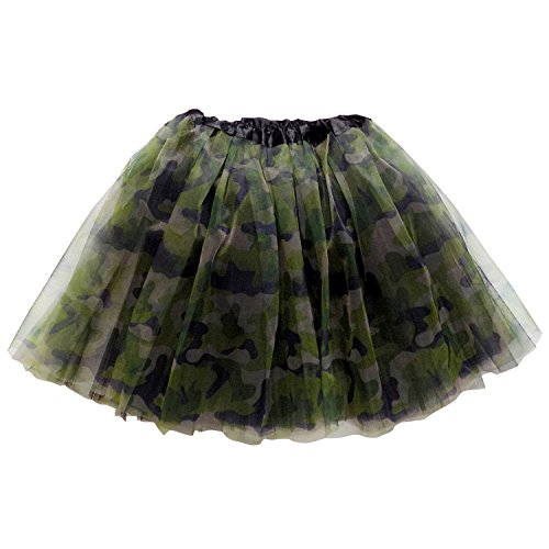 So Sydney Adult Teen 3 Layer Tutu Skirt - Princess Costume Ballet Party Dance Race Outfit (Green Camo Camouflage)