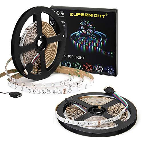 SUEPRNIGHT LED Light Strip, [2 Pack] 16.4ft 300 LEDs Multi Color RGB Rope Lighting Non-Waterproof, Total 32.8 ft 600leds Flexible Tape