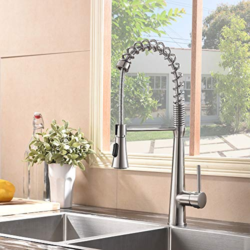 Hotis Commercial Stainless Steel Single Handle Pull Down Sprayer Spring Brushed Nickel Kitchen Faucet, Kitchen Sink Faucet by HOTIS HOME (Image #2)