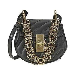 Chloe Drew Bijou Quilted Leather Shoulder Bag Black