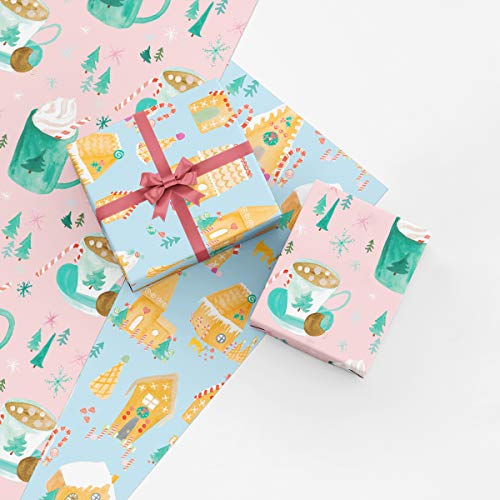 Cozy Hot Chocolate and Gingerbread Houses Christmas Gift Wrap Collection, 8 Folded Sheets of Wrapping Paper from Watercolor Paintings, Easy to Store Folded Gift Wrap, Made in America by REVEL & Co