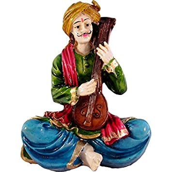Musician Playing Tambura Polyresin Figurine