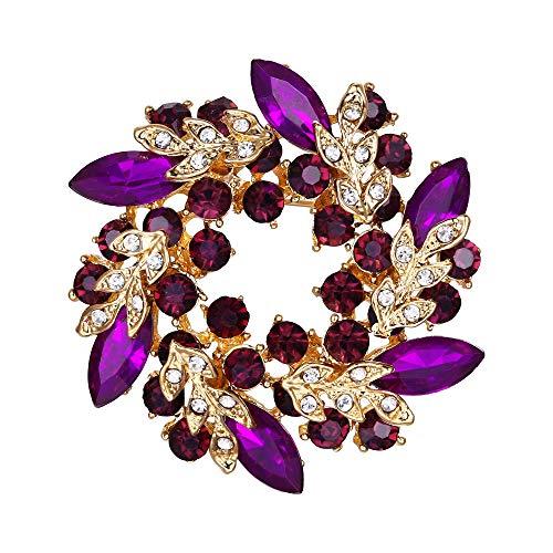 (EVER FAITH Austrian Crystal Wedding Flower Wreath Brooch Pin Purple Gold-Tone)