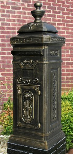 Ecco 8 Tower - Ecco E8BZ German Victorian Style Tower Mailbox, Bronze, Thumb-Latch-Non-Locking