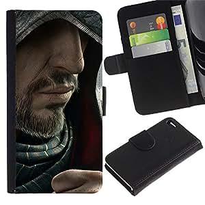 EJOY---Tirón de la caja Cartera de cuero con ranuras para tarjetas / Apple Iphone 4 / 4S / --Barbudo Assasin