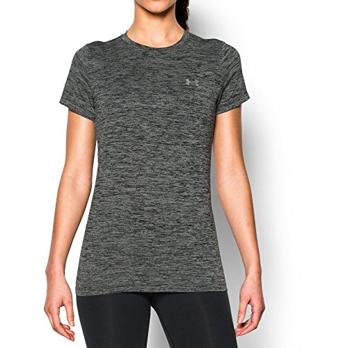 - Under Armour Women's Tech Twist T-Shirt, Black (001)/Metallic Silver, Large