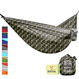 Wise Owl Outfitters Portable Lightweight Parachute Nylon Fabric Hammock with Ropes and Carbines, SingleOwl, Camo