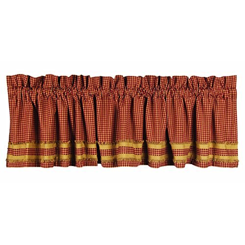 Home Collection by Raghu Newbury Gingham Red with Oat Trim Barn Red and Oat Valance, 72 by 15.5