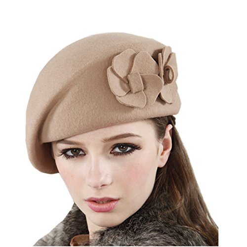 Santwo Women's Winter Beret Warm Wool Cap Hat Elegant British Style Solid Color (tan)