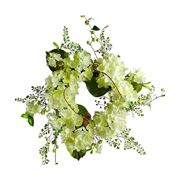 22 inches Hydrangea Flower Wreath, Wreath for Front Door, Beautiful Handcrafted Wreath for Home Decor, Weddings Cream